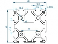 профиль al-6060-8 алюминиевый профиль